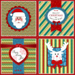 Set of four vintage Xmas greeting cards — Stock Vector #37252675