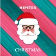 Christmas greeting card with paper hipster santa over glimmered background — Stock Vector