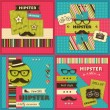Set of four Hipster backgrounds with paper hipster icons — Stock Vector