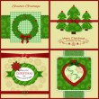 Set of four vintage Xmas greeting cards — Stock Vector