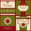 Set of four vintage Xmas greeting cards — Stock Vector #37252847