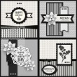 Set of four black and white Birthday backgrounds — Stock Vector
