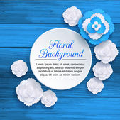 Romantic floral background with 3d white and blue paper flowers — Stock Vector