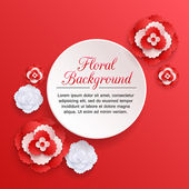 Romantic floral background with 3d white and red paper flowers — Stock Vector