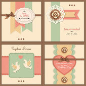 Set of four vintage wedding backgrounds with paper flowers — Stok Vektör