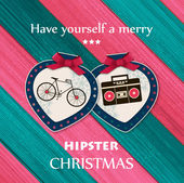 Christmas hipster greeting card with paper balls — Stock Vector