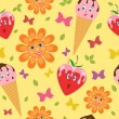 Ice-creams, strawberries, flowers and butterflies. — Stock Vector