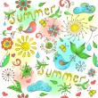 Cute hand drawn summer seamless pattern. — Stock Vector #38992265