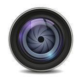 Realistic isolated camera lens icon — Stock Vector