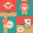 Set of four happy Valentines day — Vettoriale Stock
