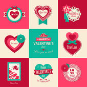 Set of Valentines day typographical backgrounds — Stock Vector