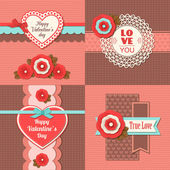 Set of four happy Valentines day — Stock Vector