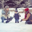Happy young family portrait on winter surrounded by snow. — Stock Photo #36874875