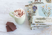 Coffee with whipped cream and chocolate — Stock Photo