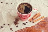 Horký nápoj v zimě — Stock fotografie