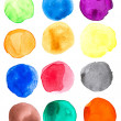Colorful Watercolor hand painted circles set — Stock Photo #39375719