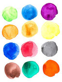 Colorful Watercolor hand painted circles set — Stock Photo