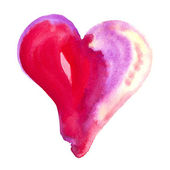 Red and pink Watercolor heart — Stock Photo