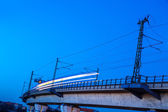 Train on a bridge — Stockfoto