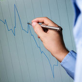 Candlestick chart and chart analysis — Stock Photo