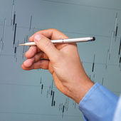 Candlestick chart analysis — Stock Photo