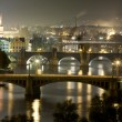 Prague at night, view of Bridges on Vltava — Stock Photo #37878775