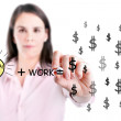 Idea and work can make lots of money equation draw by young business woman. — Stock Photo #41787659