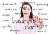 Young business woman writing business plan concept. — Stock fotografie