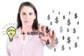 Idea and work can make lots of money equation draw by young business woman. — Foto de Stock