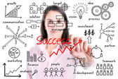 Young business woman writing success by many process, isolated. — Stock Photo