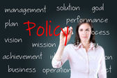 Young business woman writing policy concept. — 图库照片