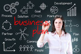 Young business woman writing business plan concept. — Stock Photo