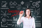 Young business woman writing success by many process. — Stockfoto