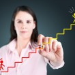 Young businesswoman drawing a career ladder concept. — Stock Photo #42486139