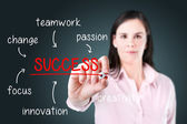 Young business woman writing success diagram on glass board with marker. — Stock Photo