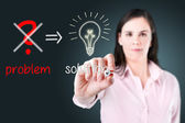 Young business woman eliminate problem and find solution. — Stock Photo