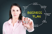 Young businesswoman drawing business plan concept. — Stockfoto