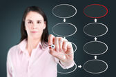 Young business woman drawing blank eight stage strategy flowchart. — Stock Photo