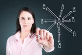 Donna giovane business disegno la struttura della rete sociale — Foto Stock