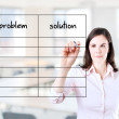 Young business woman writing problem and solution list in blank. Office background. — Stock Photo #42628495