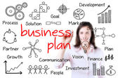 Young business woman writing business plan concept, white background. — Stock Photo