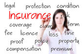 Young business woman writing insurance concept, white background. — Stock Photo