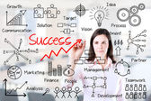 Young business woman writing success by many process. Office background. — Stock Photo