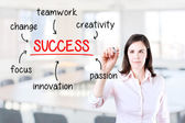 Young business woman writing success diagram on glass board with marker. Office background. — Stock fotografie