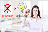 Young business woman eliminate problem and find solution. Office background. — Stock Photo