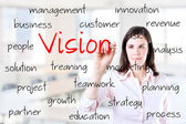 Young business woman writing concept of vision. Office background. — Stock Photo