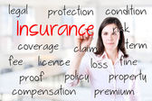 Young business woman writing insurance concept. Office background. — Stock Photo