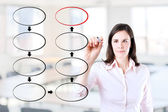 Young business woman drawing blank eight stage strategy flowchart. Office background. — Stock Photo