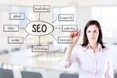 Young business woman writing a SEO schema on the whiteboard. Office background. — Stock Photo