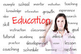 Young business woman writing education concept. Isolated on white. — Stock Photo